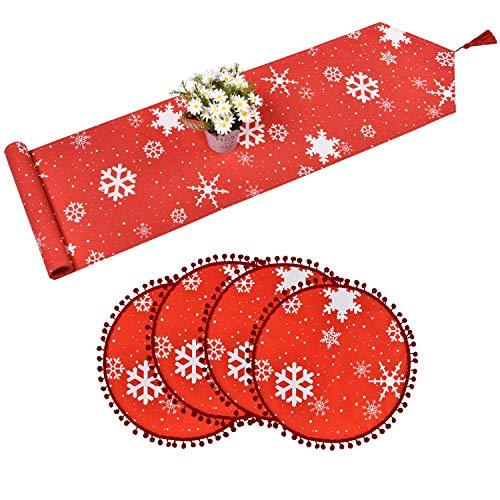 Alishomtll Tischläufer mit Quasten mit 4 Platzset Tischsets Weihnachten Tischdecke Tischband rutschfest für Küche 30 x 180 cm