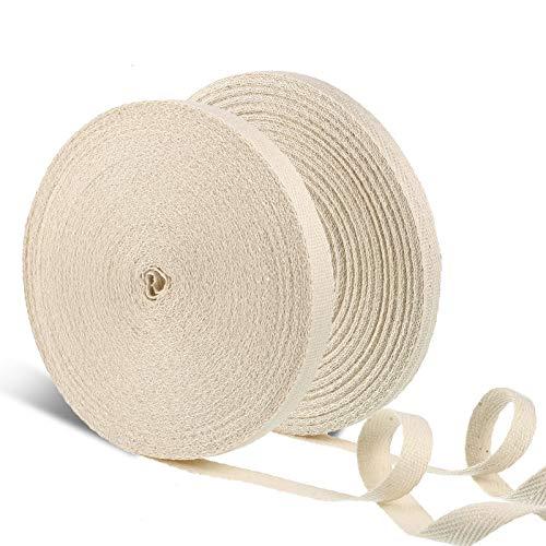 2 Rollen Baumwoll Twill Tape Band Natürlich Gurtband Klebeband Weiche Fischgrätenmuster Band Schrägband Nähen Twill Band für Nähen DIY Handwerk, 3/ 8 Zoll x 25 Yard, 1/ 2 Zoll x 25 Yard
