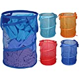 4 pcs Laundry Baskets (58cm/22.83') - Mesh Laundry Bag - Collapsible Laundry Bin with carry handle - Foldable Laundry Hamper - Pop Up Laundry Basket in four Colors - Washing Basket - Laundry Storage