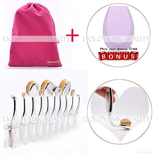 Dolovemk Pro Beauty Toothbrush Shaped Kit Foundation Power Makeup Oval Cream Brushes Set, Color Gold or Sliver Brushes (Sliver) by Dolovemk