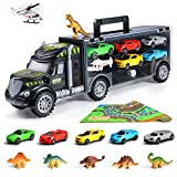 Veken Transport Car Carrier Truck Toy with 6 Dinosaur Toys, 5 Racing Cars, 1 Helicopter, 1 Baby Play...