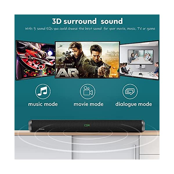 Wohome Soundbar S89 28-Inch 80W with HDMI-ARC, Bluetooth 5.0, LED Display, Optical USB AUX Connection, 4 Speakers, 4 EQs…