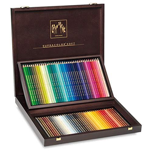 Caran d'Ache 3888.480 - Valigetta in legno Artist, 80 colori, Supracolor Soft
