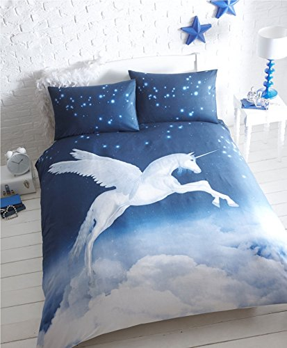 Homespace Direct Unicorn - Juego de Funda de edredón y 2 Fundas de Almohada, polialgodón, Color Azul