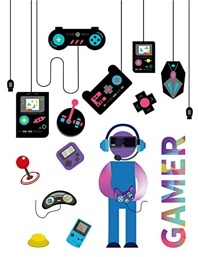 27 Pieces Gamer Wall Stickers Decals, Video Game Glass Decals, Joystick Controller Game Console Boys Room Decor, Cool Gifts for Kids Adult Boy Men Gamer Playroom Bedroom Decorations Cartoon Wallpaper