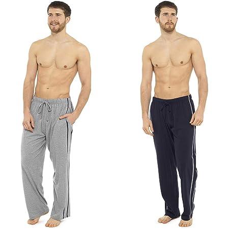 Socks Uwear 2 Pack Mens/Gentlemens Nightwear Plain Pyjama Bottom Lounge Pants - 1 X Navy, 1 X Grey - L