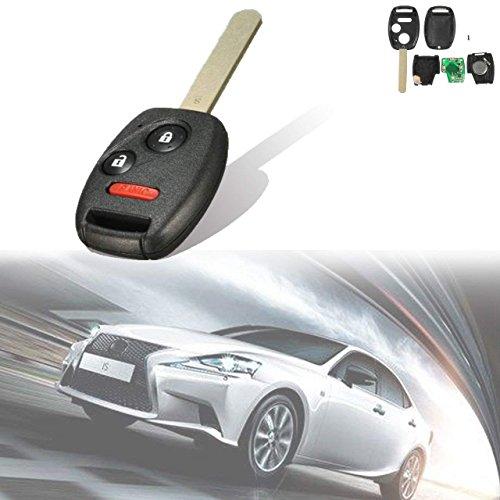 TUINCYN Noir sans Clé Fob 433 MHz Télécommande de Saisie de Puce Uncut Clé de Voiture de Remplacement avec 3 Boutons pour pour Honda Pilot 2005–2008 (Lot de 1)