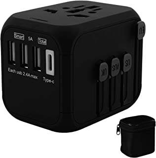 International Universal All in one Travel Charger Adapter Wall Power Outlet with high Speed 4ports Charger for Cellphone and Laptop in Bussiness Trip Cover 200+Countries (Black)