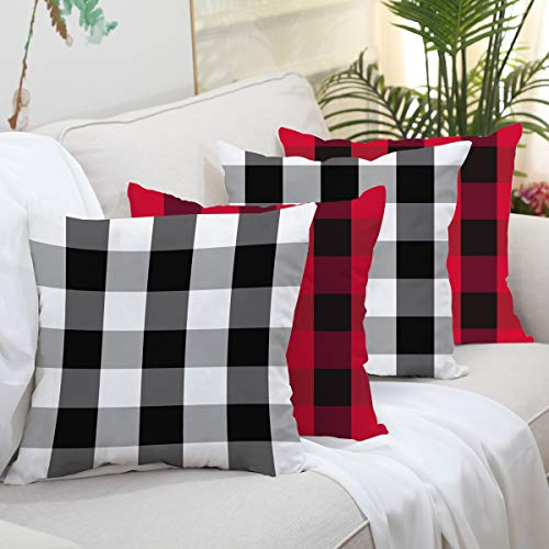 Christmas Buffalo Check Plaid Throw Pillow Covers Set of 4 Red and Black Cushion Case Woven Striped Decorative Pillowcases Cotton Polyester Cushion Cover for Farmhouse Home Sofa, 18 x 18 Inches