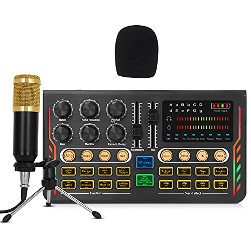 Podcast Equipment Bundle Profession Mic Kit with Live Sound Card with Tripod,All-in-ONE Sound Card kit Dual Output and Mic Interface,USB Compatible with PC/Phone for YouTube,Gaming Live Streaming