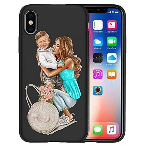 Super Mama Fashion Mom Dad Cute babay Phone Case per iPhone 8 7 X XS Max XR 11 11 Pro Max 6 7 8 Plus 5S SE Cover Etui, 15,5 5S SE