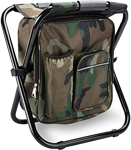 Folding Stool Backpack Insulated Cooler Bag, Collapsible Camping Hunting Fishing Multifunction Chair with Front Pocket and Bottle Pocket for Outdoor Events, Hiking, Travel, Beach