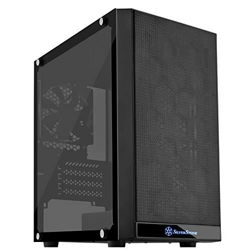 SilverStone SST-PS15B-G - Precision Mini Tower Micro ATX Computer Gehäuse, Seitenteil mit gehärtetem Glas, schwarz