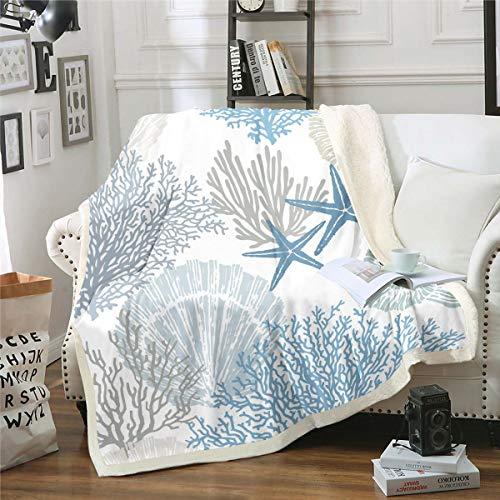 Loussiesd Manta de forro polar con diseño de estrella de mar océano, diseño de estrellas de mar, manta de sherpa para cama, sofá hawaiano, para bebé, 76,2 x 101,6 cm
