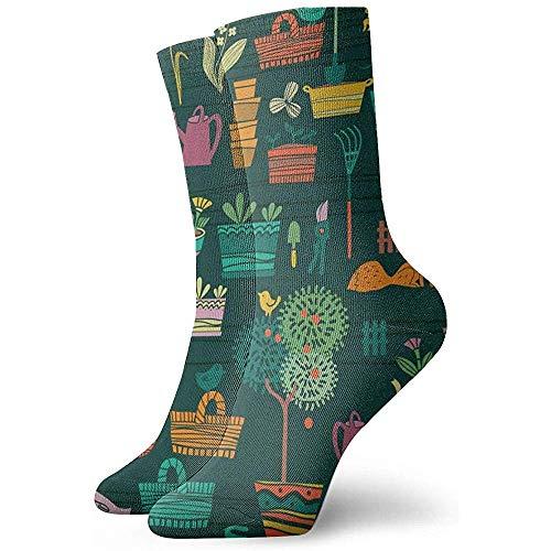 Kevin-Shop Tuingereedschap Medley Illustratie Enkelsokken Casual Gezellige Crew Sokken voor Mannen, Vrouwen, Kinderen