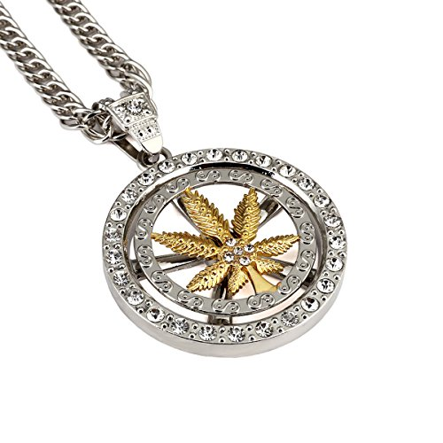 MCSAYS Hip Hop Necklace Hemp Leaf Round Pendant Long Chain Gold Plated Necklace Jewelry
