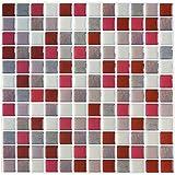 Yoillione 3D Autocollant Mural Imperméable Auto-adhésif en Mosaique Carrelage Adhesif Mural Salle de Bain, Carreaux Adhesif Mural Cuisine, Revetement Mural Rouge Carrelage Autocollant, 4 pcs