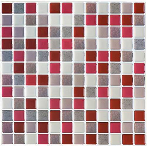 Yoillione Fliesenaufkleber Badezimmer Fliesenfolie Mosaik Fliesensticker Bad Fliesen Selbstklebend Fliesendekor, Rot 3D Fliesenaufkleber kKüche Fliesen Folie Wand Fliesen Aufkleber, 4er Pack