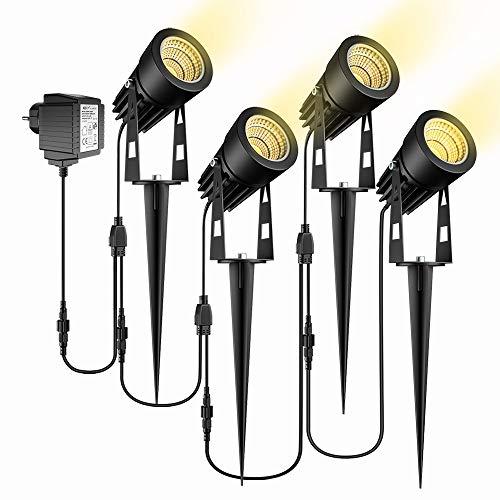 Gartenbeleuchtung, ECOWHO 4er Set Gartenleuchte mit Erdspieß, IP65 Wasserdicht LED Gartenstrahler mit Stecker, Warmweiß Scheinwerfer Gartenlampe Wegbeleuchtung Spot Außenbeleuchtung für Outdoor