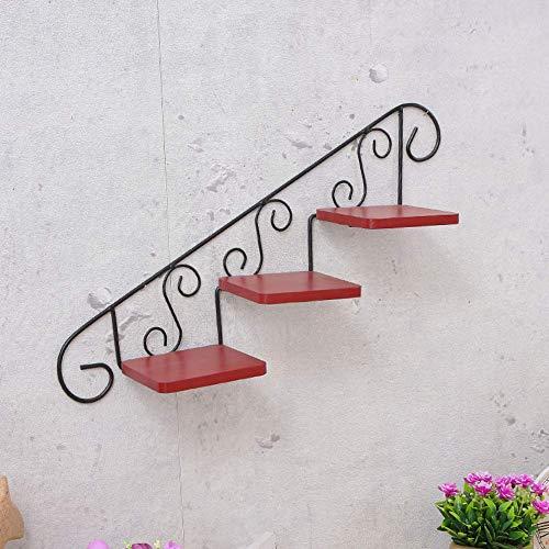 MWPO Hauswandbehang im europäischen Stil Blumenständer, 3-stufig Wandschmiedeeisen Blumentopfgestell Pflanzenständer-E 43x9,7 cm (17x4inch)