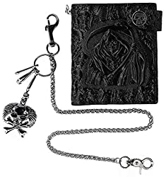 small Small ABC STORY biker wallet with leather pouch and keychain, black