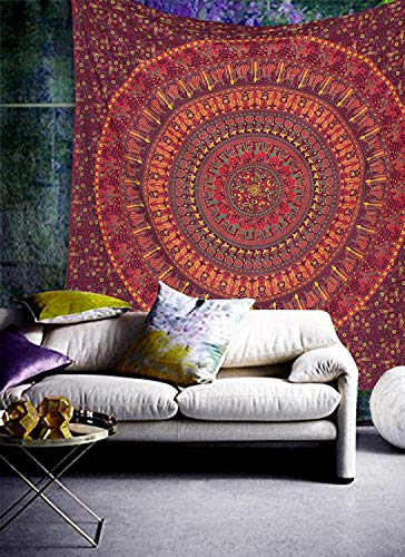 Raajsee Indisch Psychedelic Wandteppich Mandala kastanienbraun / Kamel Elefant Boho Wandtuch Hippie/ Indien Wandbehang baumwolle Tuch Twin 54x82 Inches