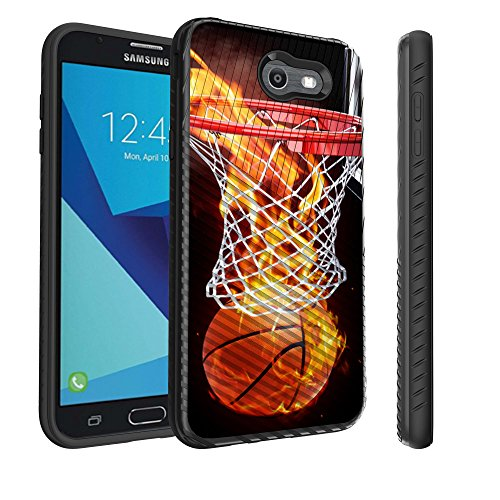 Untouchble Case for Samsung Galaxy J7 Perx, J7 Sky Pro, J7 V, J7 (2017) [Stripe Force] Combat Shockproof Two Layer Flexible TPU Bumper Cover - Basketball Fire
