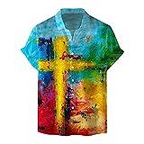 YUTING Camisa de hombre de manga corta para verano, cuello alto, estampado ventilado, de manga corta, corte ajustado, camisa con impresión B_Multicolor XL