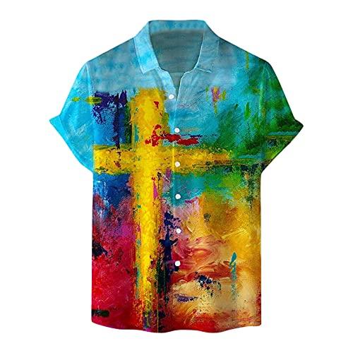 YUTING Camisa de hombre de manga corta para verano, cuello alto, estampado ventilado, de manga corta, corte ajustado, camisa con impresión B_Multicolor M