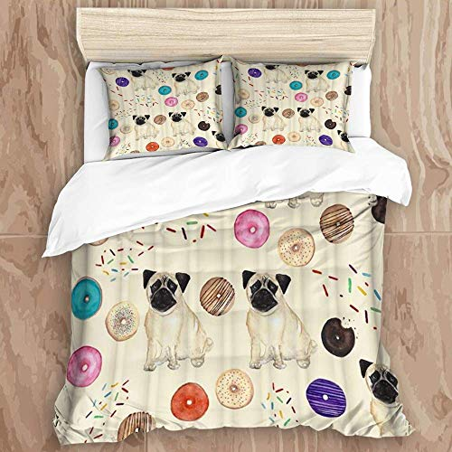 Knncch Duvet Cover Set,Adorable Pug Pet Doughnut Colorful Splashed Sugar Chocolate,Decorative 3 Piece Bedding Set with 2 Pillow Shams