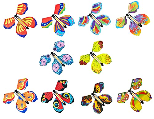 Youehsent 10 Pieces Magic Fairy Flying Butterfly Rubber Band Powered Wind-up Flying Butterflies Card Surprise Toy, for Surprise Gift or Party Playing (Random Color)