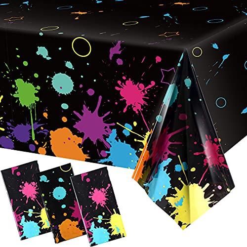 3 Pieces Glow Party Table Covers Neon Party Tablecloths 108 x 54 Inch Glow Party Tablecloths Disposable Plastic Neon Glow Table Cloth for Neon Birthday Party Black Light Party Supplies