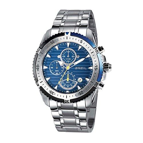Breil, orologio in acciaio inox al quarzo con quadrante blu e cronografo, 47 mm, modello TW1429