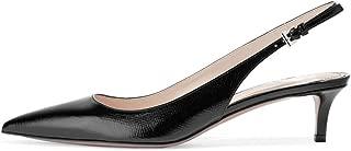 FSJ Women Classic Slingback Pumps Low Kitten Mid Heels Sandals Pointy Toe Comfortable Formal Dress Shoes Size 4-15 US