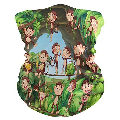 Alarge - Pañuelo para la cabeza, suave, diseño de monos, transpirable, para la cara, el polvo, la máscara de protección solar, pasamontañas para niños y niñas