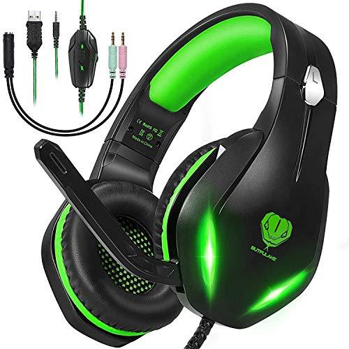 Auriculares Gaming PS5 PS4 Xbox One Switch,Cascos Gaming PC con Microfono Cancelación de Ruido,RGB LED Bass Surround Cascos Gamer con 3.5mm Jack (Negro Verde)