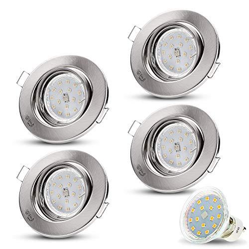 Set decoro cromo opaco 230V LED con LED 4W bianco freddo Incl. GU10Montatura (cavo di collegamento di 15cm) SMD Faretto da incasso a soffitto faretti da incasso a soffitto Spot in acciaio inox spazzolato moderno Set da 4