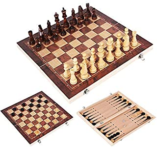 Chess Set,Chess Set International Chess 2020 3 in 1 Wooden Chess Backgammon Checkers Indoor Or Outdoortravel Games Chess S...
