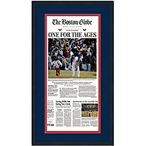 Framed Boston Globe One For The Ages Red Sox 2018 World Series Champions 17x27 Baseball Newspaper Cover Photo Professionally Matted