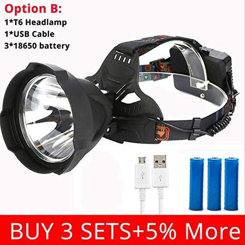 SSXZ Faros 35000 lúmenes Faros USB Recargables T6 Faros LED Lámpara de Cabeza La opción de iluminación Exterior Impermeable más Potente B