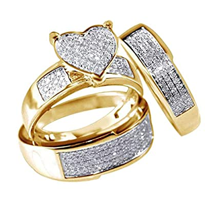 Clearance! Sale! 3Pcs/Set New Jewelry Yellow Gold Filled Heart White Sapphire Wedding Ring Sz6-10 Engagement Gifts for Women,Gifts for Boyfriend Under 5 Dollars Valentine's Day Gifts for Girlfriend