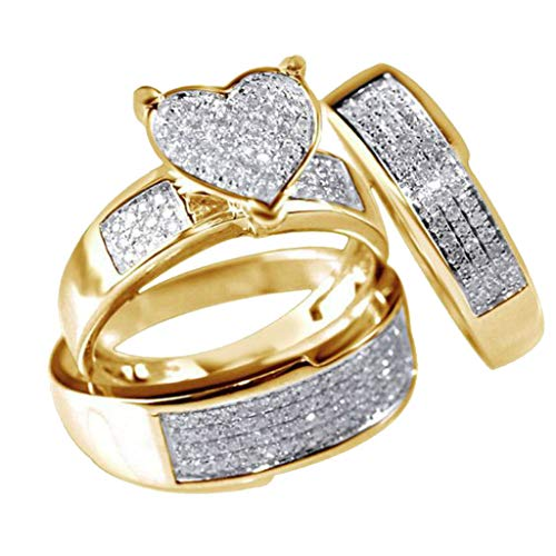 3Pcs/Set NEW Jewelry Yellow Gold Filled Heart White Sapphire Wedding Ring Sz6-10 Rings Jewelry & Watches For Woman Valentine Easter Gift