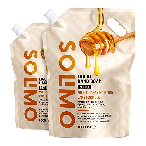 Amazon Brand - Solimo Liquid Hand Soap- Refill - Milk & Honey With Natural Honey & Milk Proteins -Pack of 2 (2 bags x 1000ml)