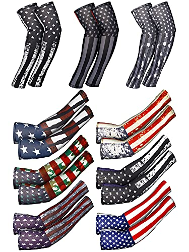 9 Pairs American Independence Day Arm Sleeves USA Flag Cooling Arm Covers Sun Protection Arm Guards Unisex Sports Arm Protection Basketball Cycling Ice Silk UV Protection Sleeves