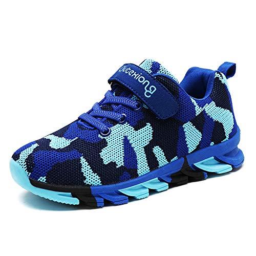 Hoylson Zapatillas y Deportivas de Deporte para Niños Bambas Niña Cómodas Ligeras Zapatos (35 EU, Azul-3)