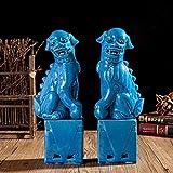 THREE 1 par de Porcelana león Perros Figura de cerámica Estatua para la decoración del hogar, A