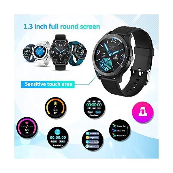 BYTTRON Reloj Inteligente, Rastreador de Ejercicios con Pantalla táctil HD Redondo de Seguimiento del Ritmo cardíaco… 5