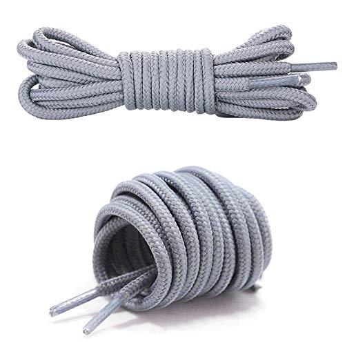 Canwn Schnürsenkel Rund, [3 Paar] Extrem Reißfest Schuhbänder Ersatz Schnürsenkel für Sportschuhe, Sneakers und Stiefel 100% Polyester Ø 4 mm -Grau