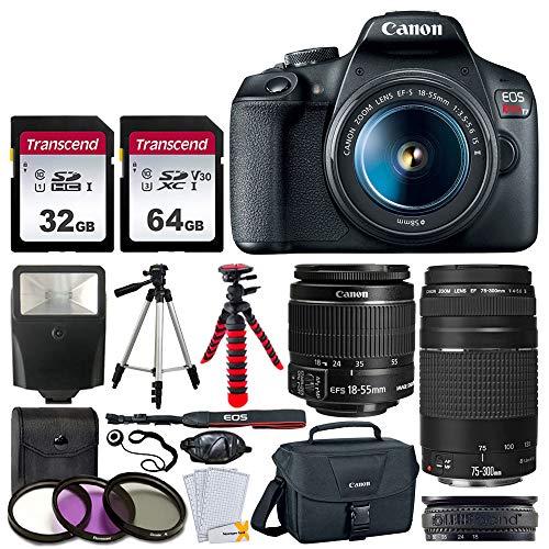 entry level slrs Canon EOS Rebel T7 DSLR Camera + EF-S 18-55mm f/3.5-5.6 is II + EF 75-300mm f/4-5.6 III Lens + Canon EOS Shoulder Bag + 32GB Memory Card + 64GB Memory Card + 2x Tripod + Slave Flash – Top Value Bundle