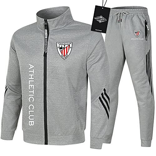 HUISEDIDAI de Los Hombres Chandal Conjunto Trotar Traje Athletic-Bilbao Hooded Zipper Chaqueta + Pantalones Capucha Baloncesto Ropa Conjunto Chaquetas Chaqueta/gray/L